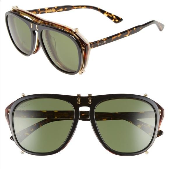 547d53cfdb UNISEX Gucci Pilot 56mm Flip-Up Sunglasses. M 5b52891b04ef5043a9664112